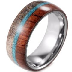 (Wholesale)Tungsten Carbide Turquoise Wood Deer Antler Ring-1973