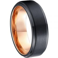 (Wholesale)Tungsten Carbide Black Rose Step Edges Ring-1978