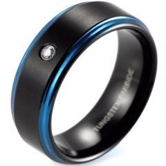 (Wholesale)Tungsten Carbide Black Blue Ring With CZ - TG2030A