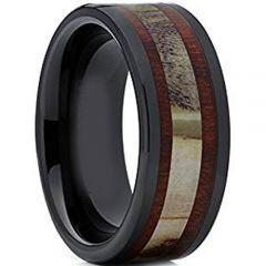 (Wholesale)Black Tungsten Carbide Deer Antler Wood Ring-TG2034