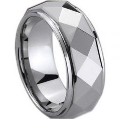 (Wholesale)Tungsten Carbide Faceted Ring - TG203