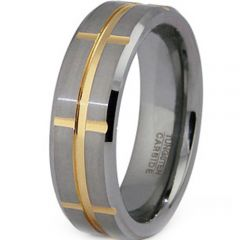 (Wholesale)Tungsten Carbide Center & Vertical Groove Ring-2056
