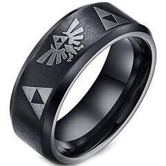 (Wholesale)Black Tungsten Carbide Legend of Zelda Ring - TG20