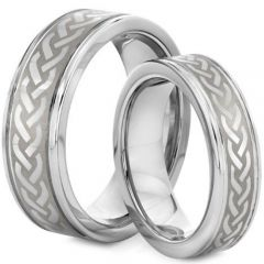 (Wholesale)Tungsten Carbide Double Groove Celtic Ring - TG2127