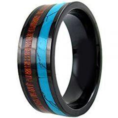 (Wholesale)Black Tungsten Carbide Wood & Imitate Turquoise Ring-