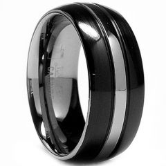 (Wholesale)Tungsten Carbide Double Groove Ring - TG2169