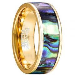 (Wholesale)Gold Tungsten Carbide Abalone Shell Ring-2191
