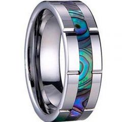 (Wholesale)Tungsten Carbide Abalone Shell Ring - TG2191