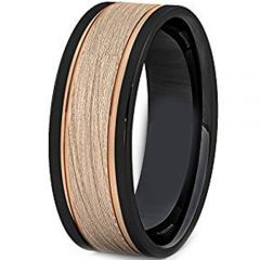 (Wholesale)Tungsten Carbide Black Rose Double Groove Ring-2192