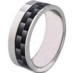 (Wholesale)Tungsten Carbide Offset Carbon Fiber Ring-2233