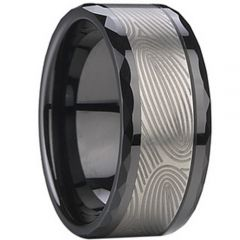 (Wholesale)Tungsten Carbide Double Groove Faceted Ring - TG2235A