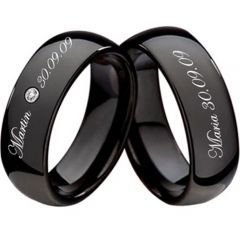 (Wholesale)Black Tungsten Carbide Ring With Custom Engraving-223