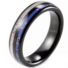 (Wholesale)Black Tungsten Carbide Deer Anter & Camo Ring-TG2283