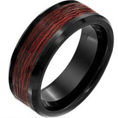 (Wholesale)Black Tungsten Carbide Wood Ring - TG2291