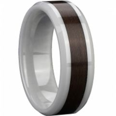 (Wholesale)White Ceramic Ring With Wood - TG2292A