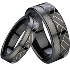 (Wholesale)Black Tungsten Carbide Offset Groove Ring - TG2305