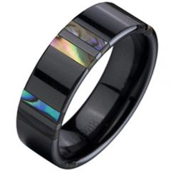 (Wholesale)Black Tungsten Carbide Abalone Shell Ring - TG2334