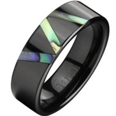 (Wholesale)Black Tungsten Carbide Abalone Shell Ring - TG2345