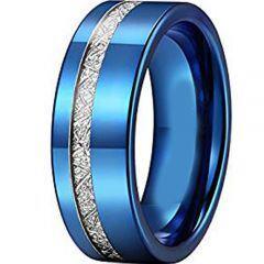 (Wholesale)Blue Tungsten Carbide Imitate Meteorite Ring-2426AA