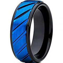 (Wholesale)Tungsten Carbide Black Blue Diagonal Groove Ring-2431
