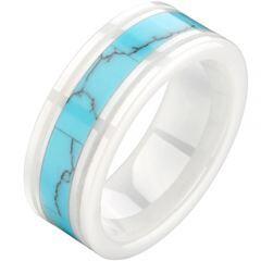 (Wholesale)White Ceramic Ring With Imitate Turquoise - TG2485
