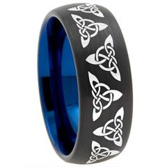 (Wholesale)Tungsten Carbide Black Blue Trinity Knots Ring-2492