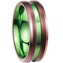 (Wholesale)Tungsten Carbide Espresso Green Ring-2534