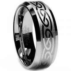 (Wholesale)Tungsten Carbide Celtic Beveled Edges Ring - TG2534
