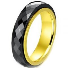 (Wholesale)Tungsten Carbide Black Gold Faceted Ring - TG2541