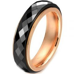 (Wholesale)Tungsten Carbide Black Rose Faceted Ring - TG2542