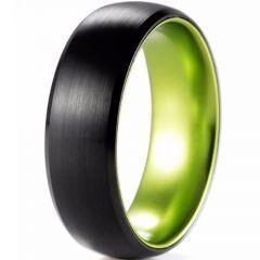 (Wholesale)Tungsten Carbide Aluminum Black Green Ring-2565