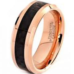 (Wholesale)Tungsten Carbide Ring with Carbon Fiber-TG2569