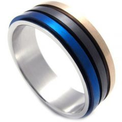 (Wholesale)Tungsten Carbide Blue Black Rose Double Groove Ring-2