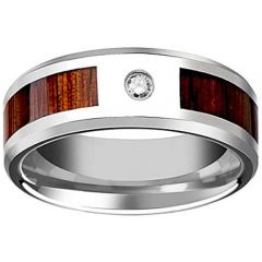 (Wholesale)Tungsten Carbide Wood Ring With Cubic Zirconia-2612