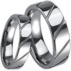 (Wholesale)Tungsten Carbide Diagonal Groove Ring - TG268