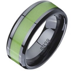 (Wholesale)Black Tungsten Carbide Ring With Ceramic - TG2714