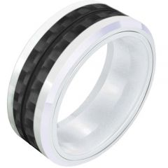 (Wholesale)White Ceramic Ring With Carbon Fiber - TG2727A