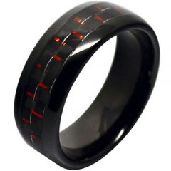(Wholesale)Black Tungsten Carbide Ring With Carbon Fiber - TG274