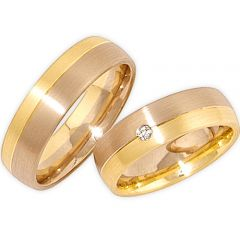 (Wholesale)Tungsten Carbide Gold Rose Offset Groove Ring - TG275
