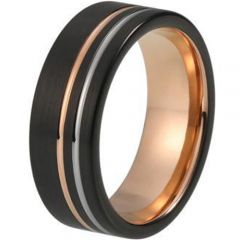 (Wholesale)Tungsten Carbide Black Rose Double Groove Ring-2763AA