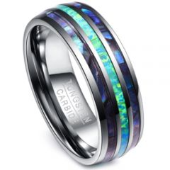(Wholesale)Tungsten Carbide Shell Imitate Opal Ring-2770