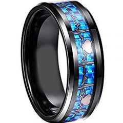 (Wholesale)Black Tungsten Carbide Heartbeat Carbon Fiber Ring -
