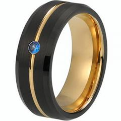 (Wholesale)Tungsten Carbide Black Rose Ring With Created Sapphir
