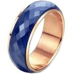 (Wholesale)Tungsten Carbide Blue Rose Faceted Ring-TG2800