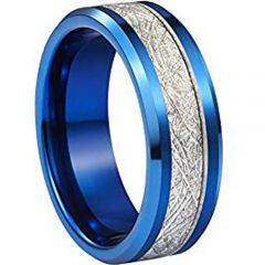 (Wholesale)Blue Tungsten Carbide Imitate Meteorite Ring - TG2807