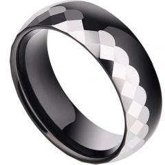 (Wholesale)Tungsten Carbide Faceted Ring - TG2852A