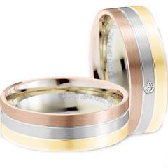 (Wholesale)Tungsten Carbide Rose Gold Silver Ring - TG2908