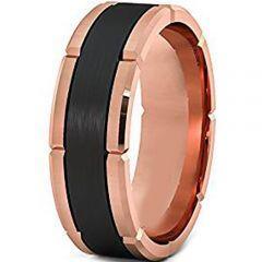 (Wholesale)Tungsten Carbide Black Rose Horizontal Groove Ring-29