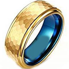 (Wholesale)Tungsten Carbide Blue Gold Hammered Ring - TG2936AA