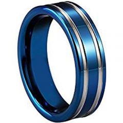 (Wholesale)Tungsten Carbide Double Groove Ring - TG2957AA